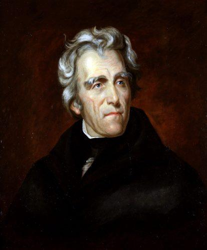 President Andrew Jackson wearing a black coat and standing in front of a dark red background.