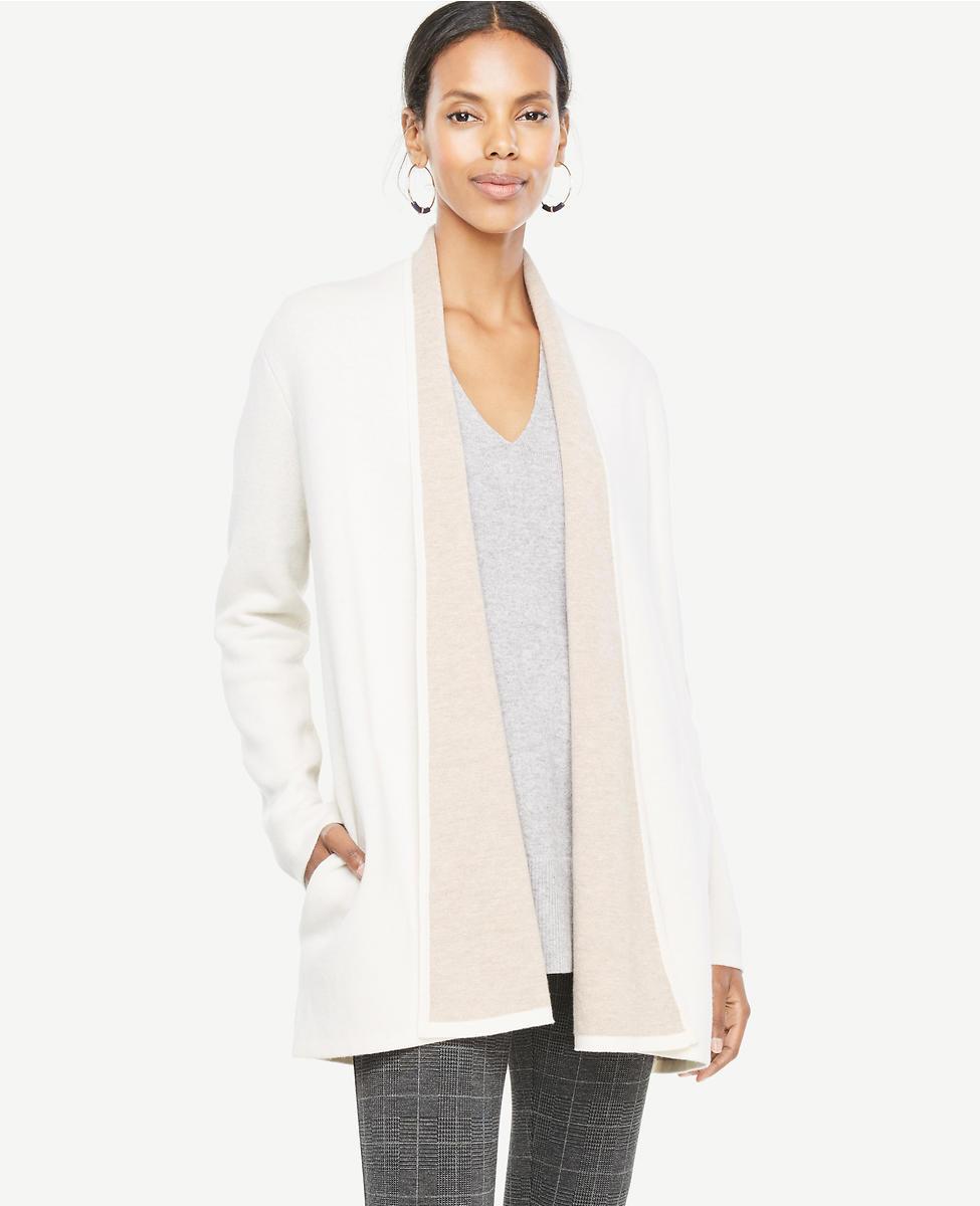 Ann taylor cream wool coatigan