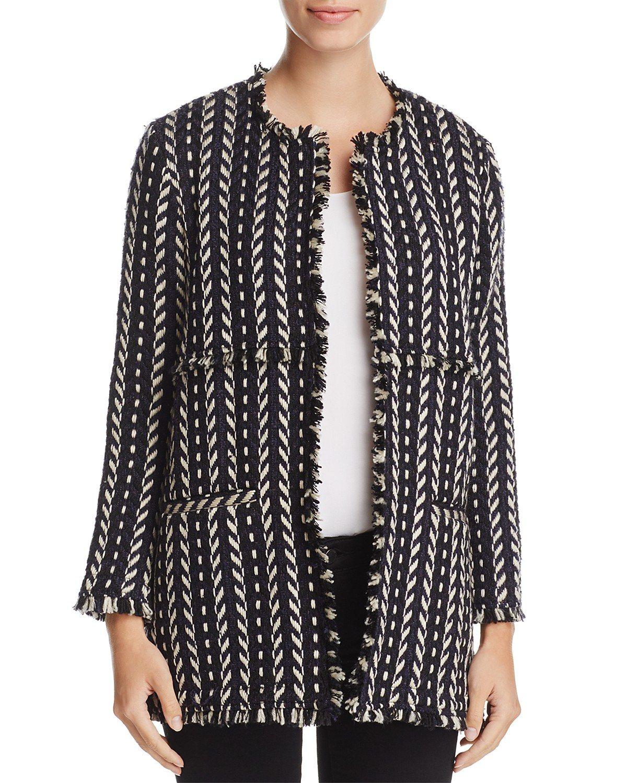 Tweed open long coat