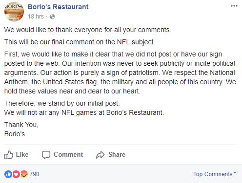Borino's Restaurant post