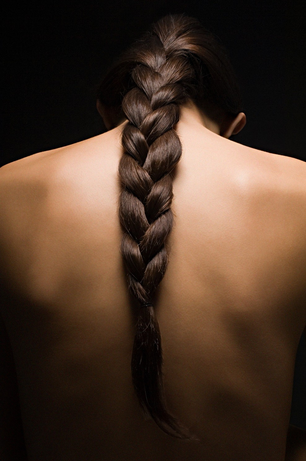 Woman with long braided hair