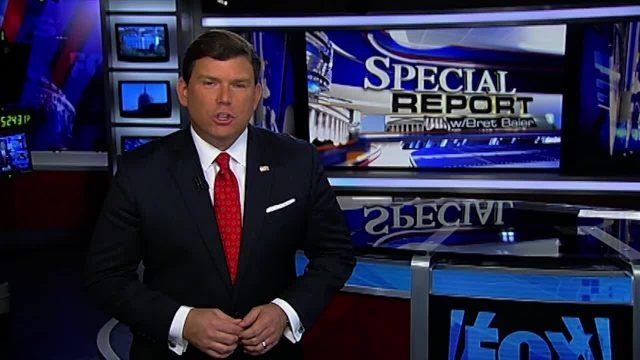 Bret Baier stands in front of a news desk on 'Special Report with Bret Baier'.