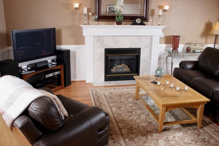Brown walls in living room