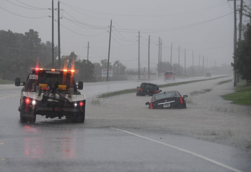 Cars in flooded streets after hurricane