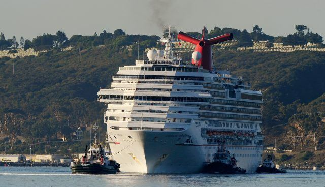 Stranded cruise ship fire