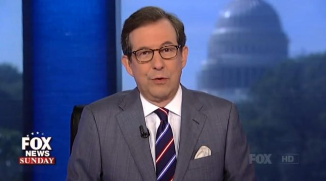 Chris Wallace sitting on a chair and talking on-screen on 'Fox News Sunday'.