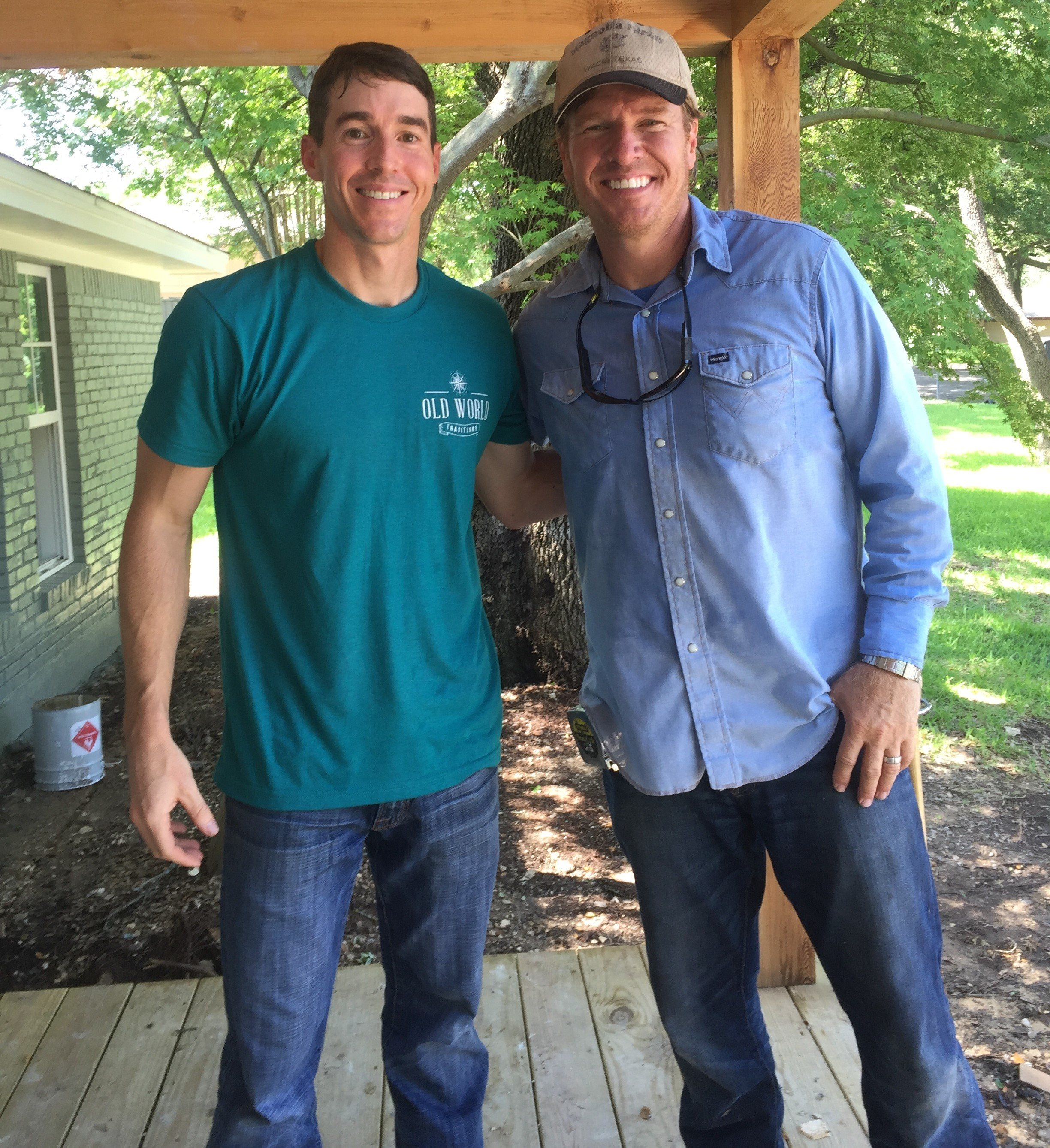 This 39 fixer upper 39 cast member created artwork for the for Old world traditions faux beams
