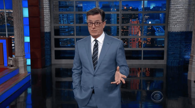 Stephen Colbert delivers his monologue on The Late Show