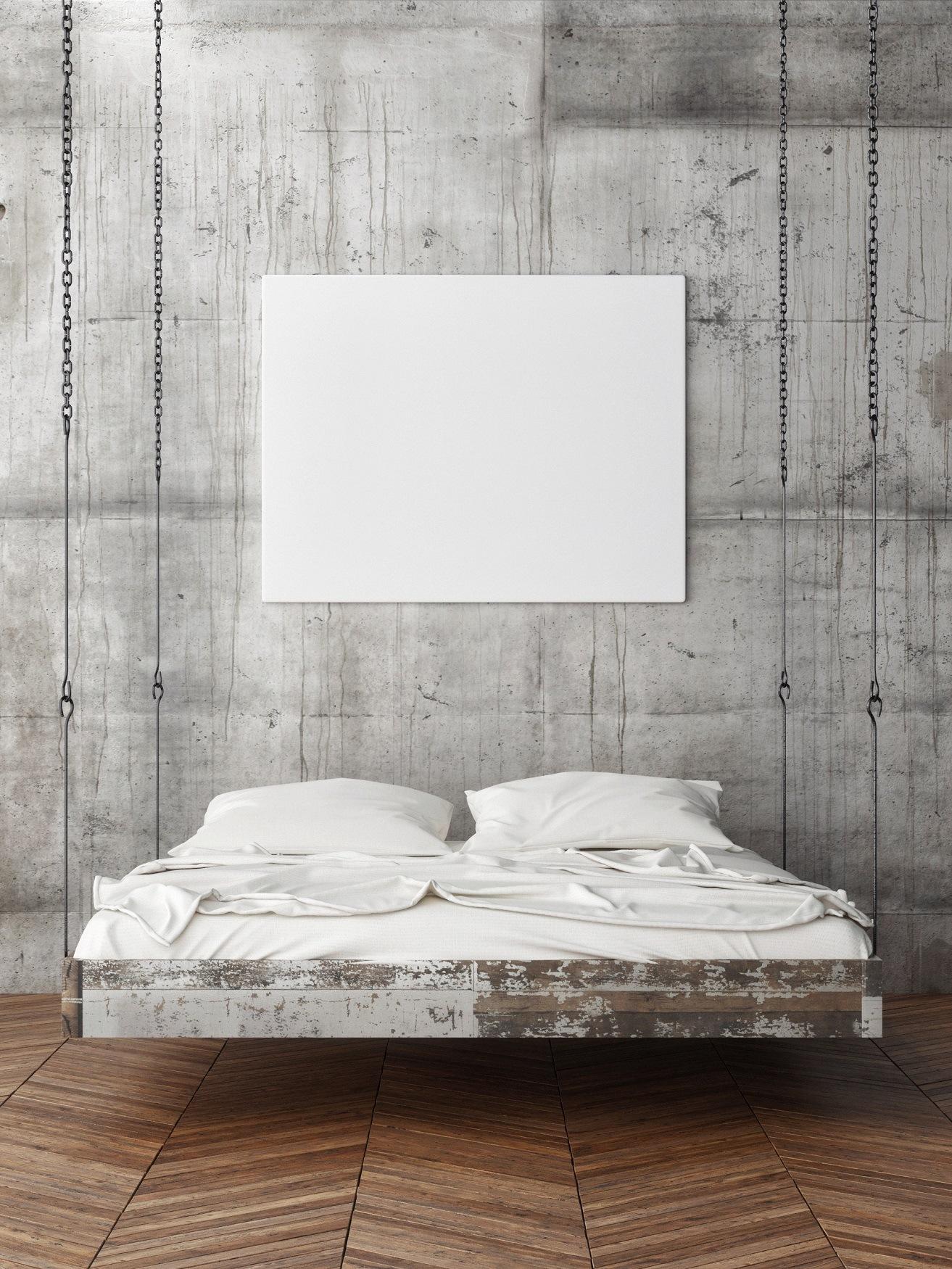 Concrete wall in modern bedroom