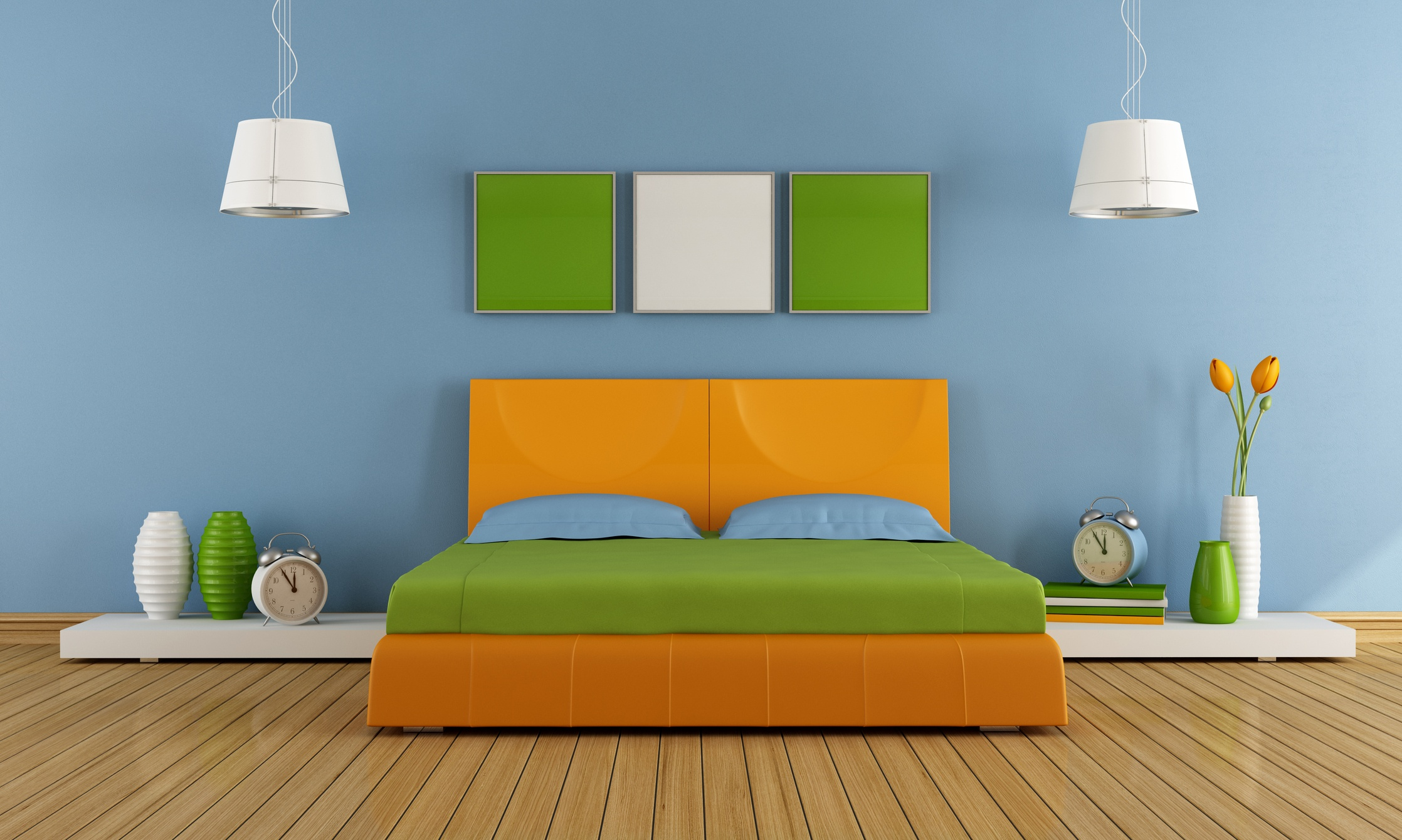 Colorful contemporary bedroom