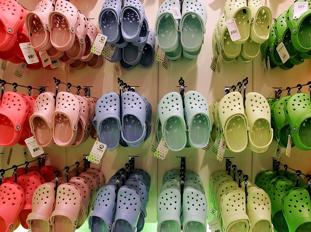 Crocs hanging in a store