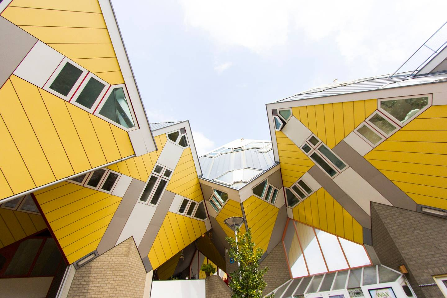 Yellow cube houses