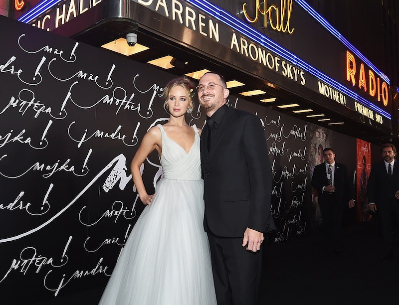 Jennifer Lawrence and Darren Aronofsky pose in front of Radio City
