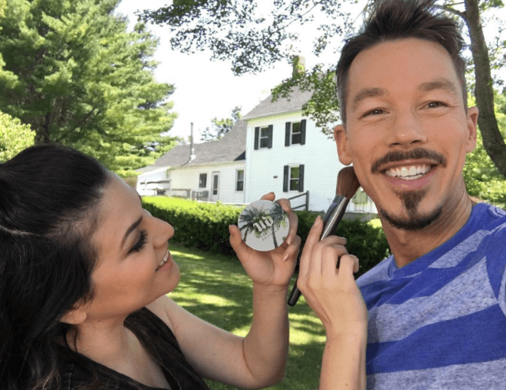 David Bromstad receives a touch-up before taping an episode for HGTV.