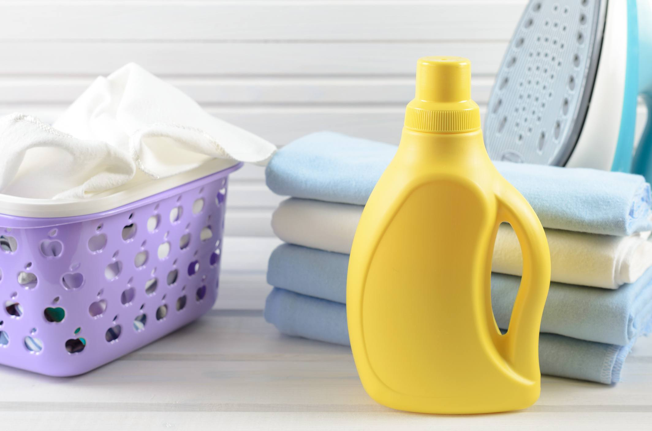 Laundry folded with detergent