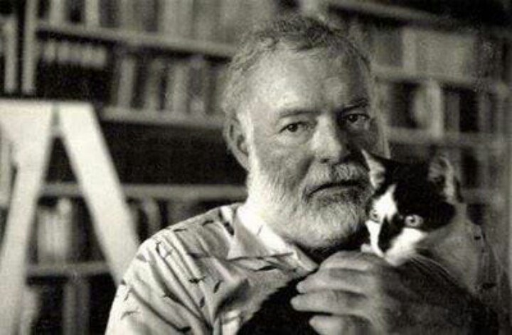 Ernest Hemingway and his cat