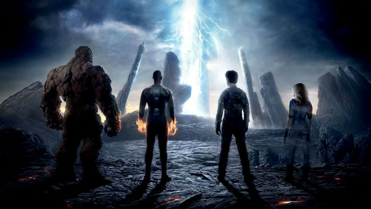 Four heroes stand in a line and look up at a lightning bolt