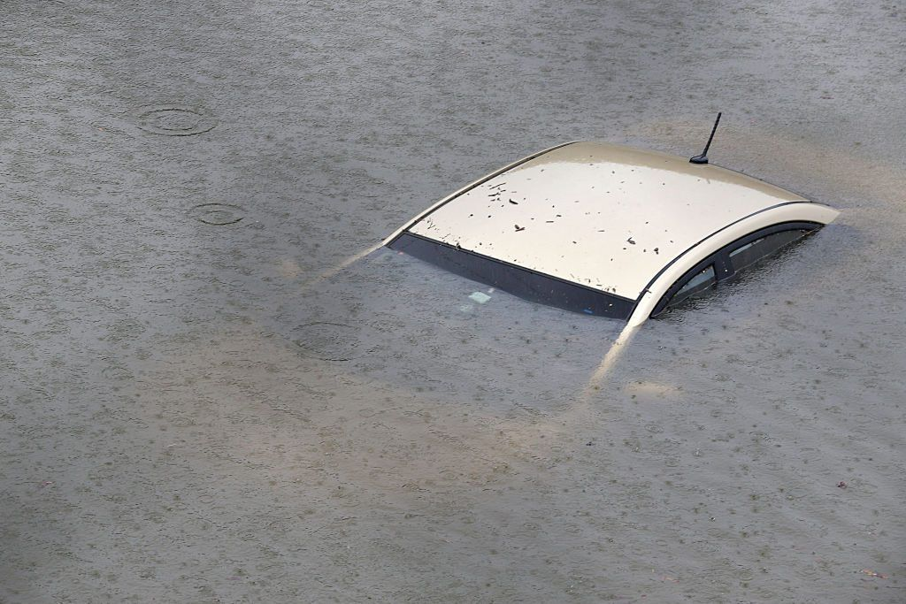 Car underwater after flooding