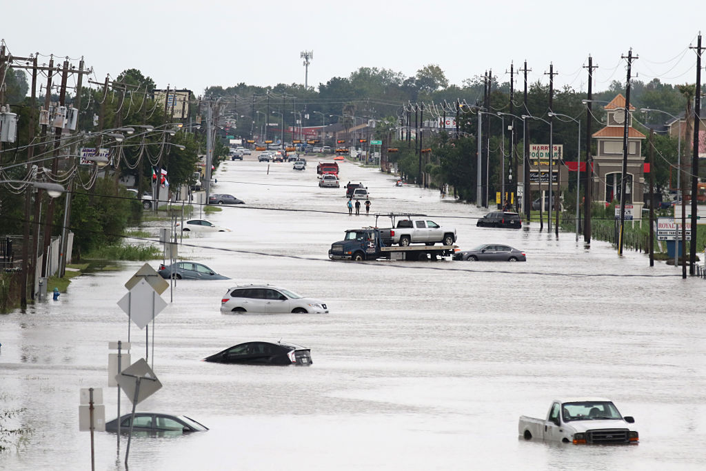 Water floods the street after Hurricane Harvey.