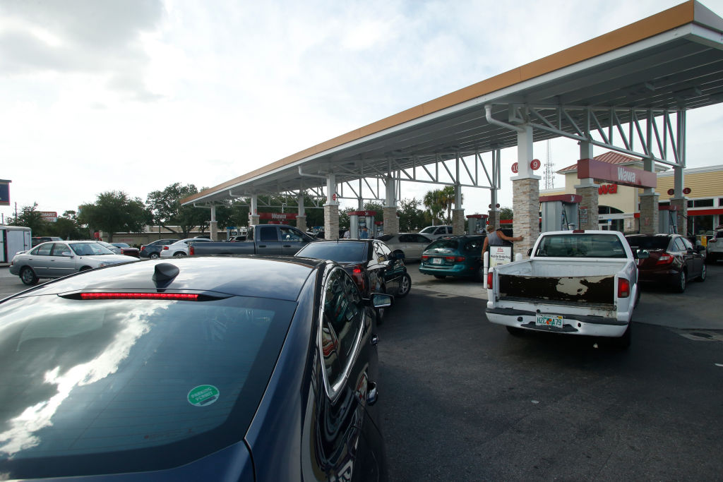 Cars line up at gas station in Florida