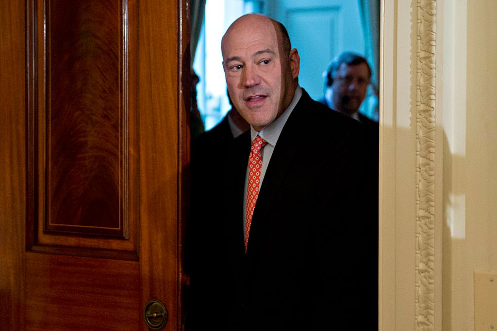 Gary Cohn peeks through a doorway
