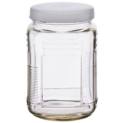 Glass jar with plastic lid