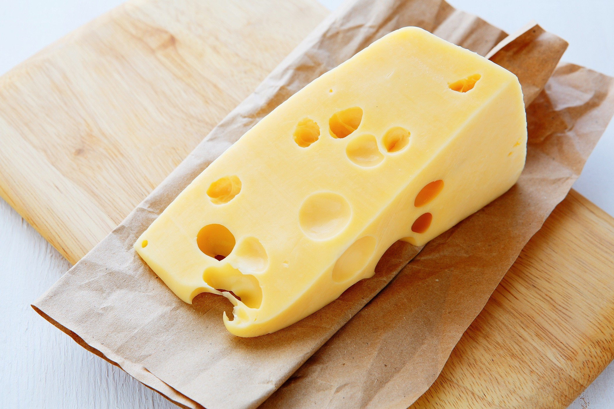 Gruyere cheese with holes
