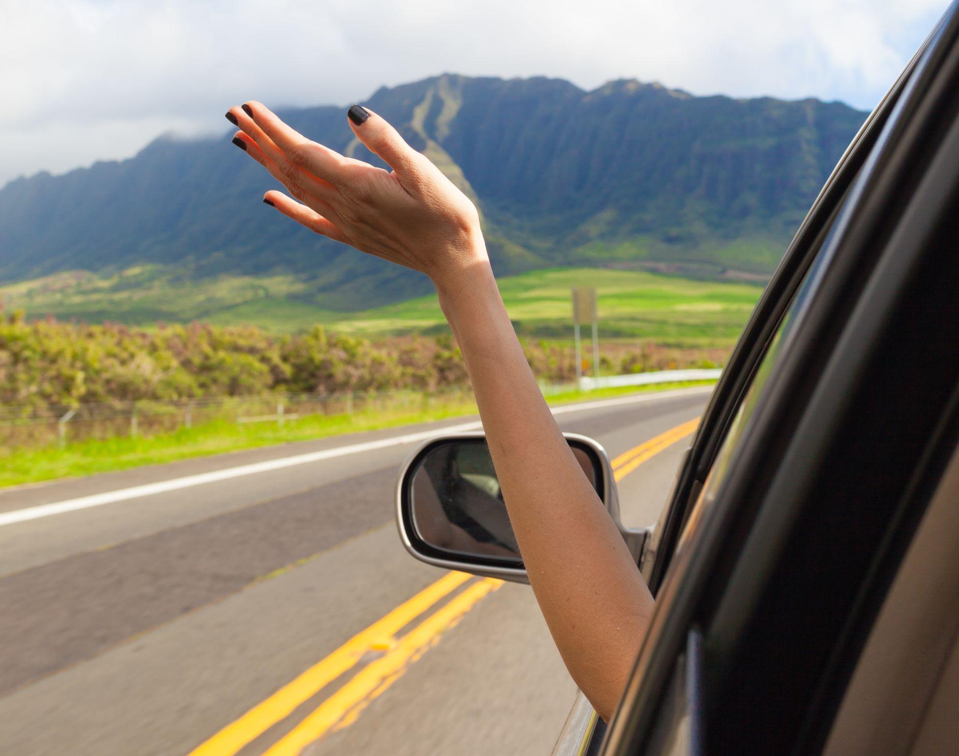 Woman driving in Hawaii