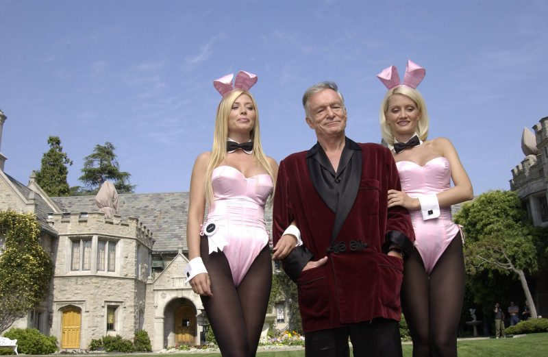 Hugh Hefner at the Playboy Mansion in 2003.