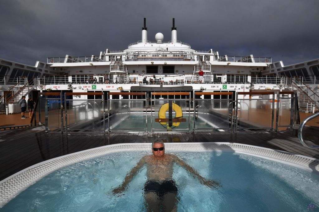 Man in hot tub on cruise ship