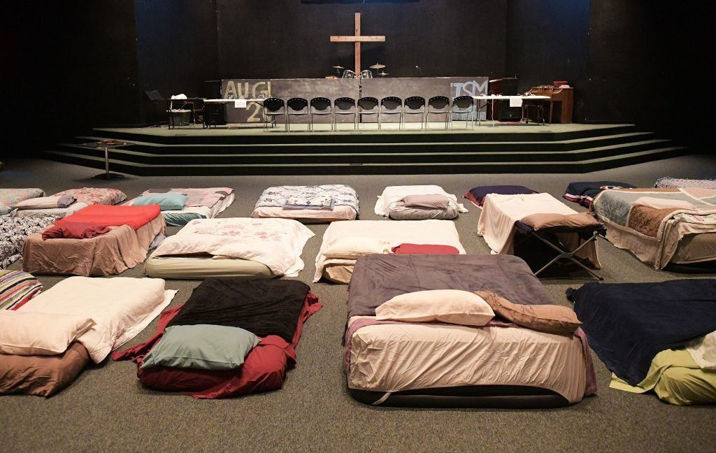 church with beds for refugees