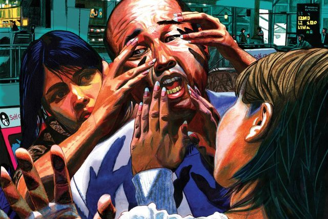 An Illustration showing two women from the fron and back of kim jong nam smearing liquid on his face