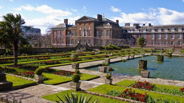 Kensington Palace gardens seen on a clear blue day.