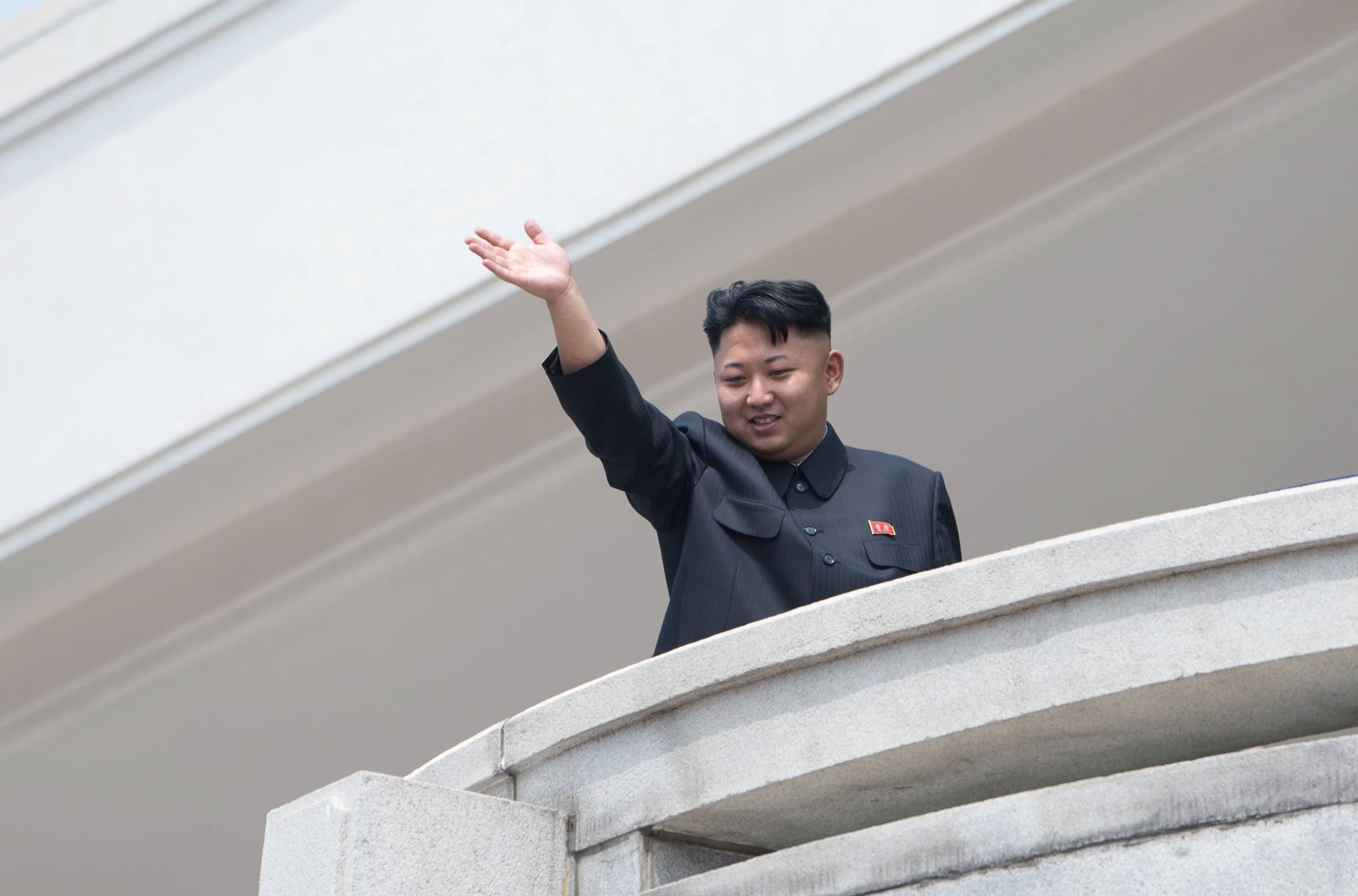 Kim Jong Un waving