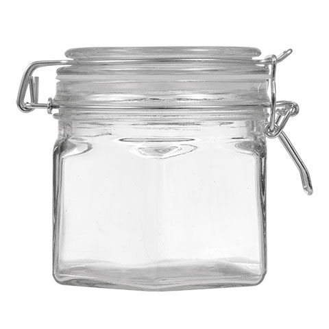 Glass jar with metal clasp