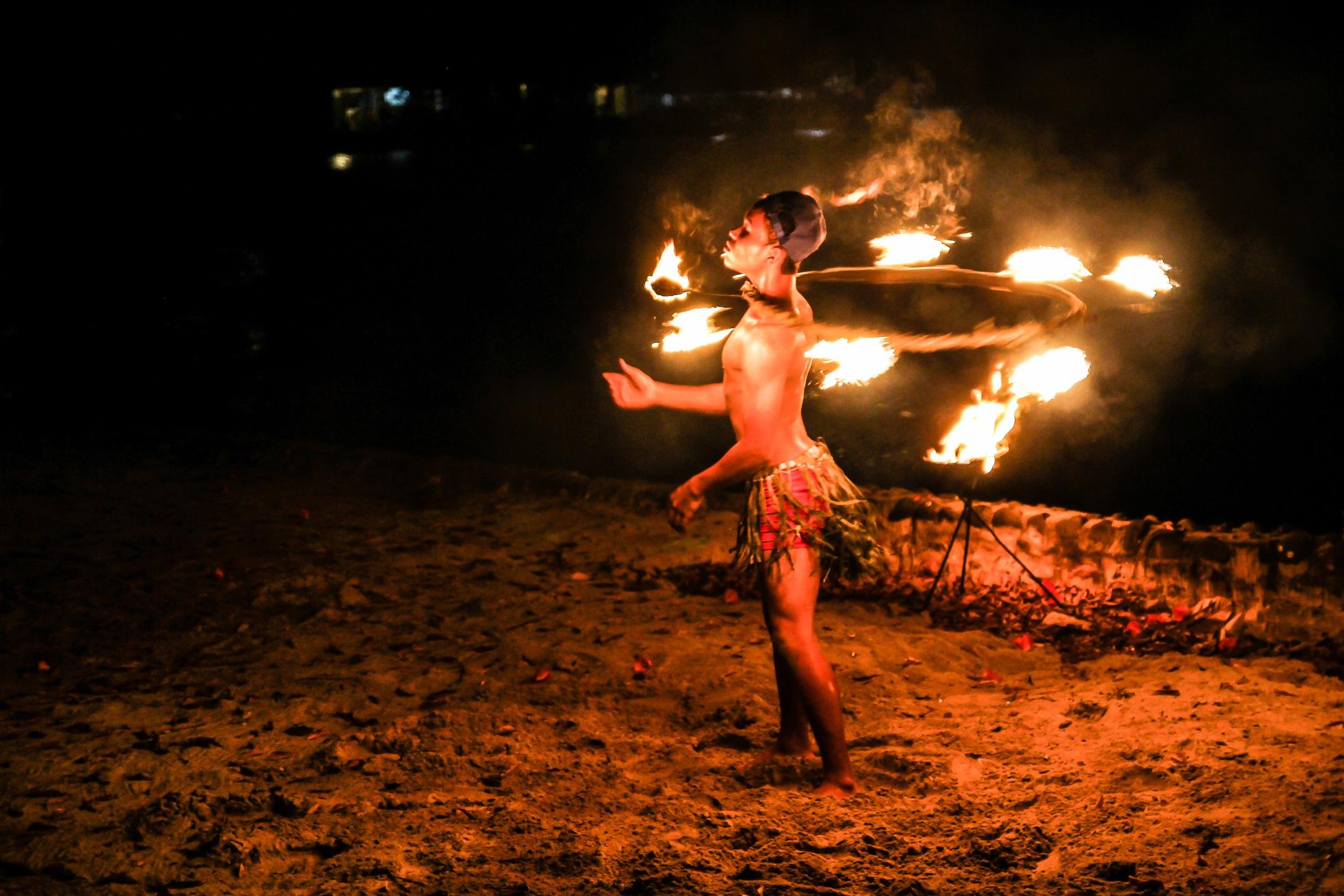Man on fire at luau