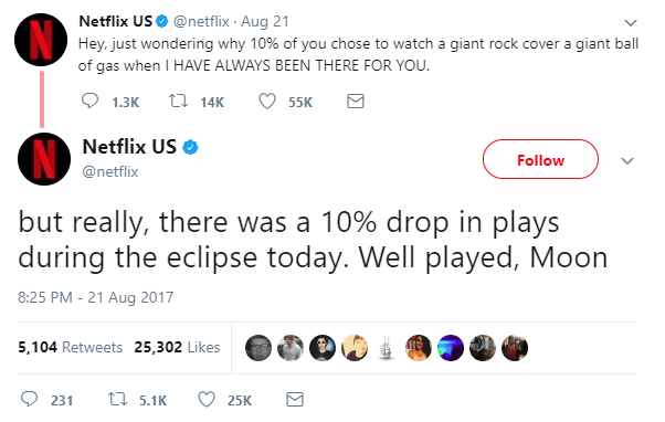 Netflix tweet about eclipse