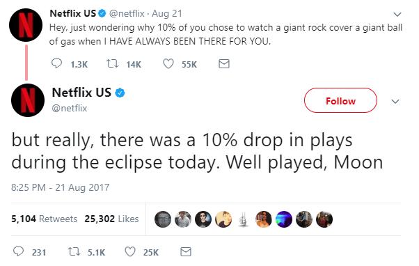 Netflix tweet about eclipse