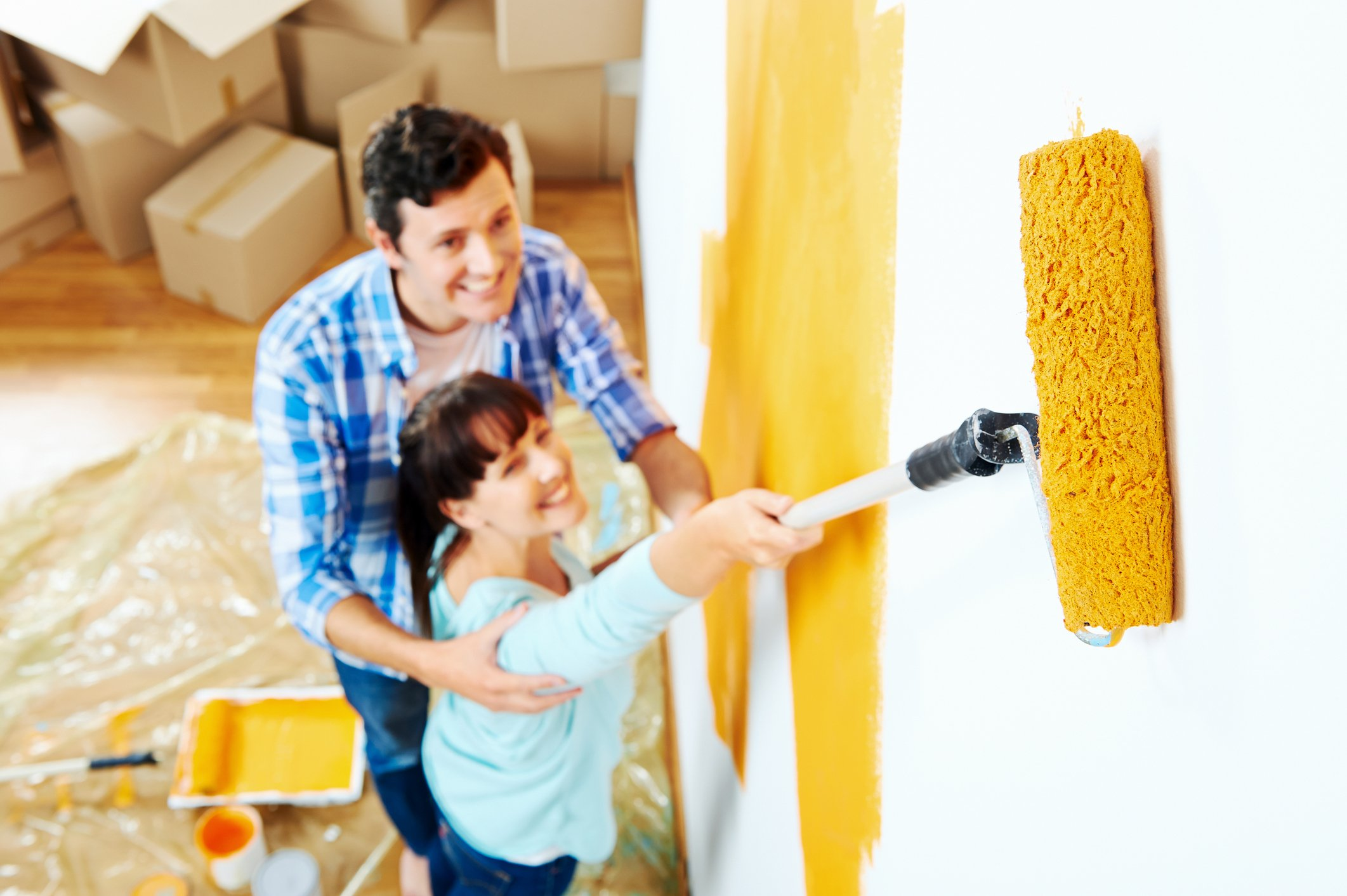 Painting a wall orange