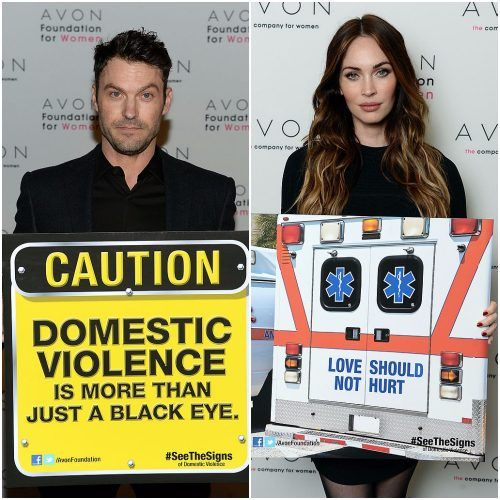 (L) Actor Brian Austin Green at The Morgan Library & Museum in New York City at the Avon Foundation launch of its #SeeTheSigns of Domestic Violence global social media campaign. (R) Actress Megan Fox helped the Avon Foundation launch its new global Facebook campaign, #SeeTheSigns of Domestic Violence, on November 22, the International Day for the Elimination of Violence Against Women.