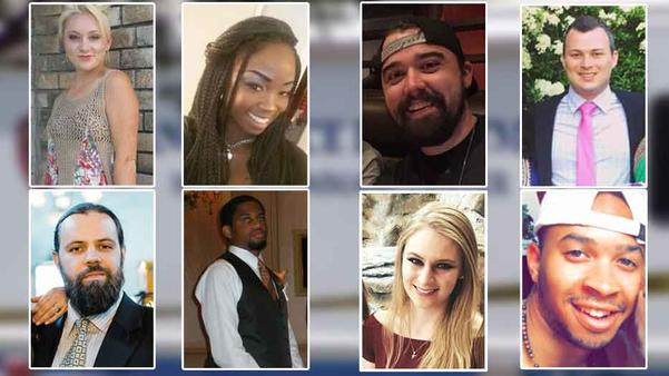 """Top right to left: Meredith Hight, Myah Bass, Caleb Edwards, James Dunlop. Bottom right to left: Anthony """"Tony"""" Cross, Rion Morgan, Olivia Deffner, Darryl Hawkins."""