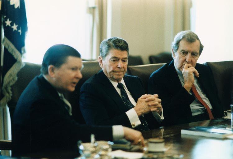 Ronald Reagan during Iran-Contra meeting