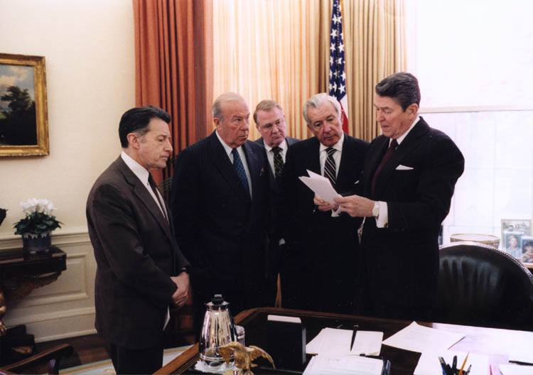 President Reagan with his cabinet