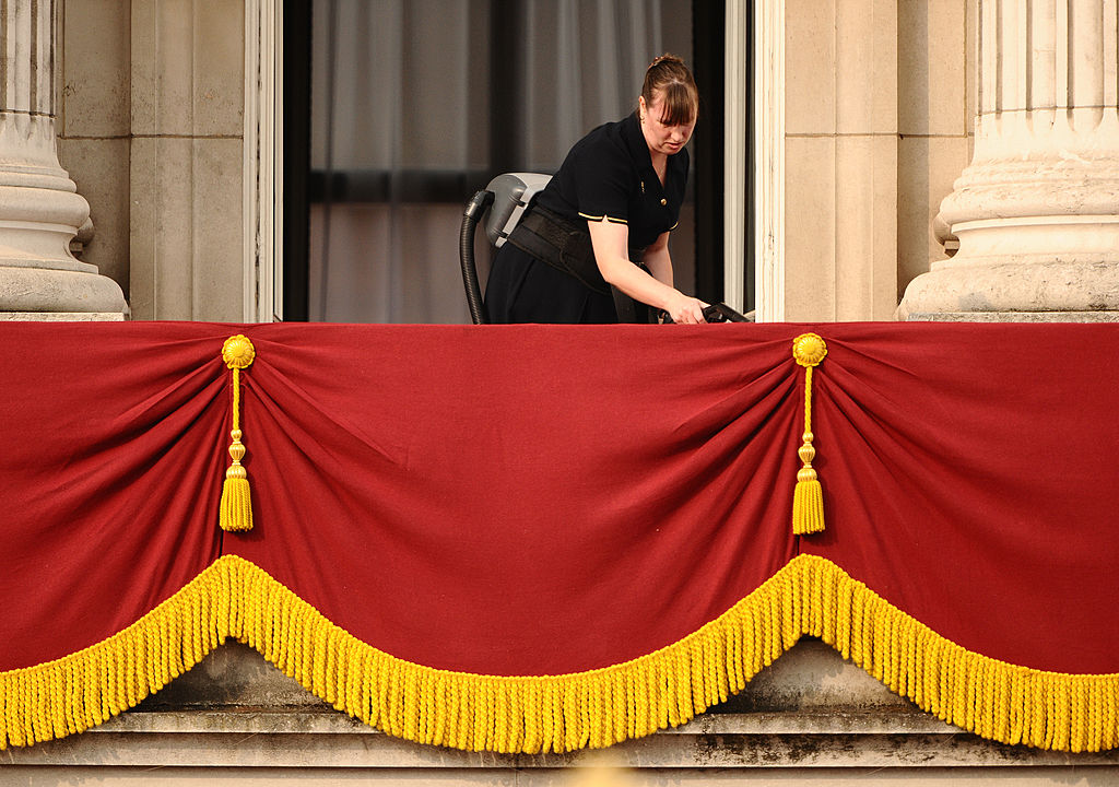 Woman cleaning Buckingham Palace