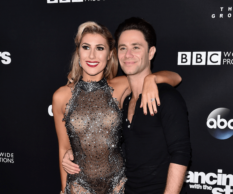 Sasha Farber and Emma Slater pose together at a DWTS event
