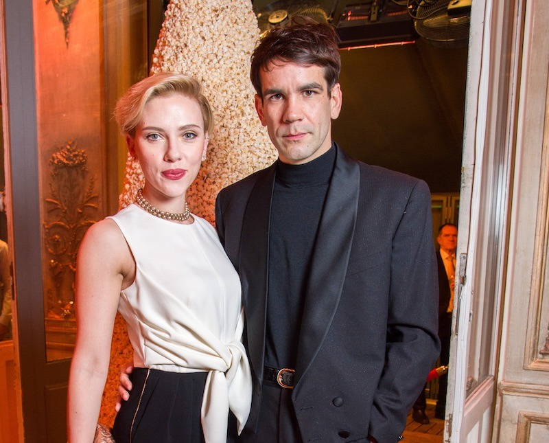 Scarlett Johansson and Romain Dauriac stand next to each other
