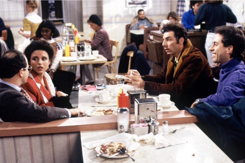 Jason Alexander, Julia Louis-Dreyfus, Michael Richards, and Jerry Seinfeld in Seinfeld