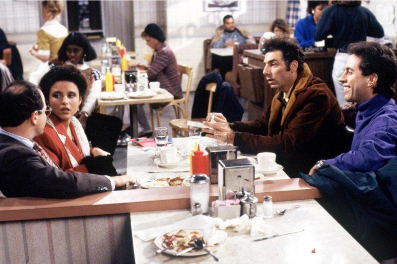 Jason Alexander, Julia Louis-Dreyfus, Michael Richards, and Jerry Seinfeld in Seinfeld