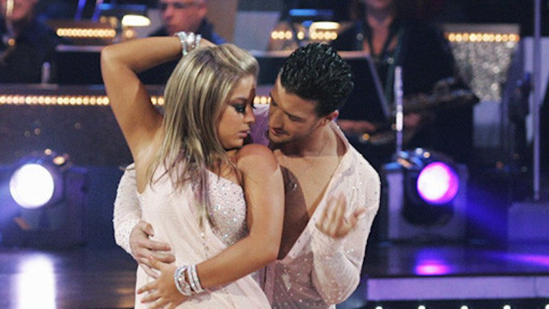 Mark Ballas and Shawn Johnson dance together in sparkly blush outfits
