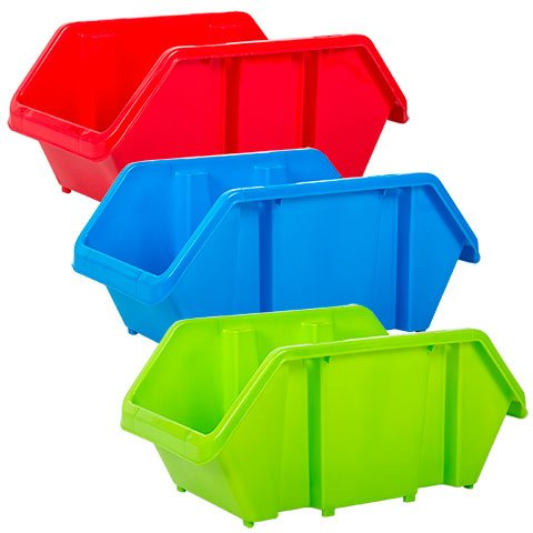 Stacking plastic bins